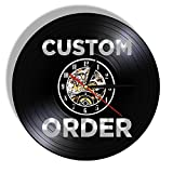 SHILLPS Custom Vinyl Record Wall Clock Custom Order Your Design Your Logo Your Personal Personalized Vinyl Wall Clock Watches No Led
