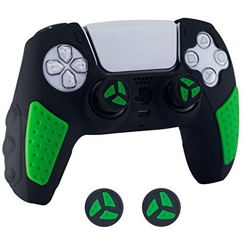 BRHE PS5 - Set di accessori per joystick Playstation 5 Gamepad con 2 tappi per pollice (verde nero)