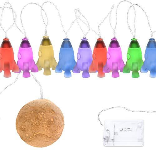 Navaris LED Lichterkette Raketen mit Mond - 2m Länge - Süße RGB Nachtlicht Minilichterkette für Kinder mit Farbwechselfunktion - Lichter Kette