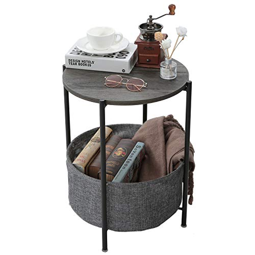 Tray Metal End Table Side Table Round Tray Removable Tray Outdoor & Indoor Drink Snack Coffee Table Telephone Table (Black wood)
