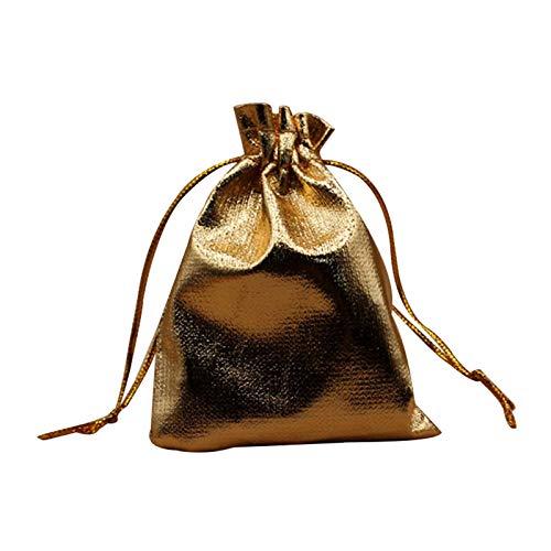 jieyun - Bolsas de regalo para decoración de Navidad, boda, fiesta, bolsa de regalo, con cordón, color dorado y plateado