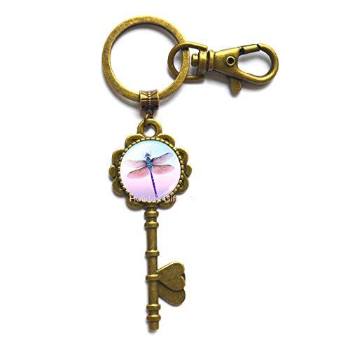 Pretty Cute Dragonfly Crystal Cabochon Key Key Ring Fashion Silver Color Chain Collar Key Keychain for Women Elegant Jewelry,H103