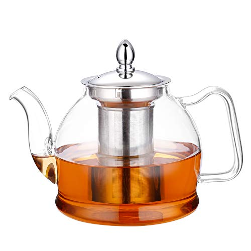 Hiware 1000ml Glass Teapot with Removable Infuser, Stovetop Safe Tea Kettle, Blooming and Loose Leaf...