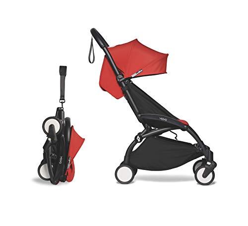 BABYZEN YOYO2 6+ Stroller - Black Frame with Red Seat Cushion & Canopy