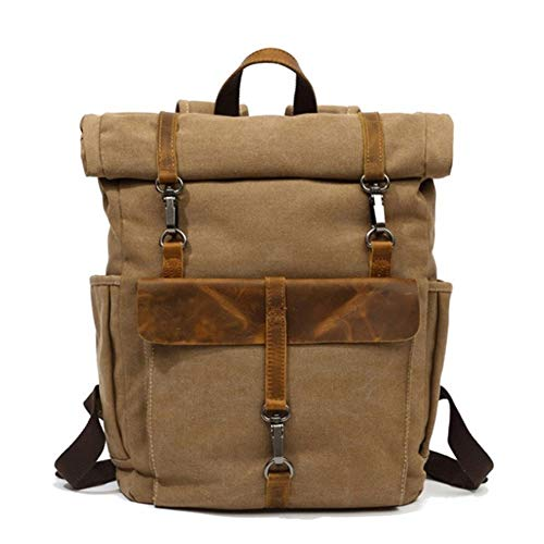 Vintage Bag Bearky Bag Green Khaki Man Leather Canvas Rolltop Backpack Large-Capacity Fashion Multi-Function Leisure Travel Bag Crossbody Bag (Color : Khaki, Size : 15.6inches)