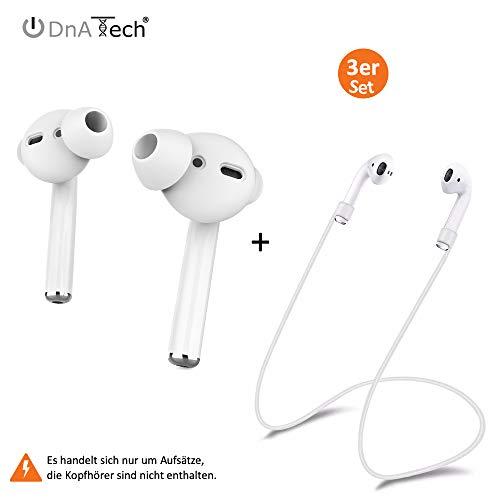 DnA Tech® In-Ear Ohrpolster 2X2-Set + Strap für Airpods   Silikon Aufsatz für AirPods - Unerschütterlicher Halt   Perfekt für Freizeit und Sport [Kopfhörer Nicht enthalten] (2-Set mit Strap, White)