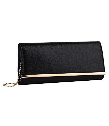 SIX Elegante Clutch: Schwarze Abendtasche aus seidenmatt schimmerndem Kunstleder, mit goldenen Details und Abnehmbarer Trägerkette (463-636)