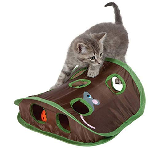 Rabusion New for Pet Cat Mice Game Bell Tent with 9 Holes Cats Playing Tunnel Mouse Hunt Intelligence Toy