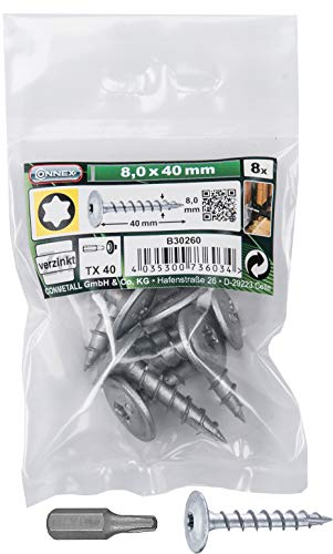 Connex Pfostenschrauben 8,0 x 40 mm - 8 Stück - TX Torx-Antrieb - Vollgewinde - Zur Befestigung von Beschlägen & Verbindern - Inkl. Bit / Pfostenverbinder-Schraube / Schrauben-Set / B30260