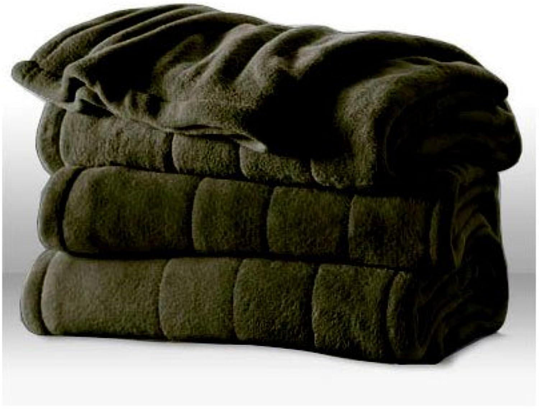 Sunbeam Channeled Microplush Heated Electric Blanket King Ivy Green