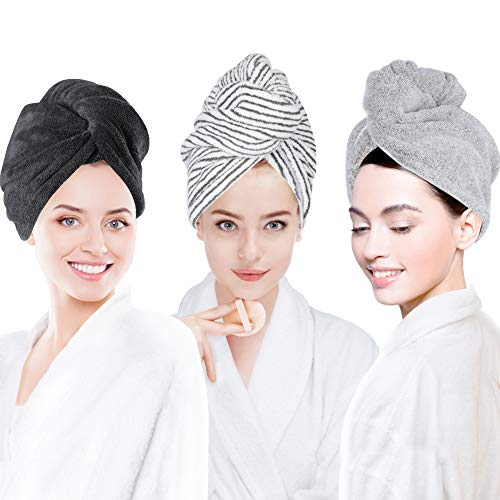 3 Pack Hair Towel Wrap for Women, Ultra Soft Hair Drying Towels, Anti-Frizz & Super Absorbent Hair Turban, Suitable for Curly, Long & Thick Hair (Gray&Dark Gray&Stripe)
