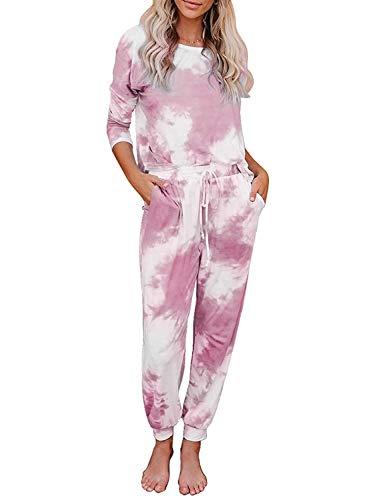 Leefrei Damen Langer Pyjama, Winter Schlafanzug, Winter Nachtwäsche
