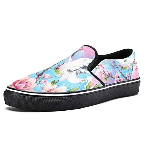 TIZORAX Crane On Blossom Cherry Branch Slipper Loafer Schuhe für Herren Jungen Fashion Canvas Flache Bootsschuhe, Mehrfarbig - mehrfarbig - Größe: 46 EU