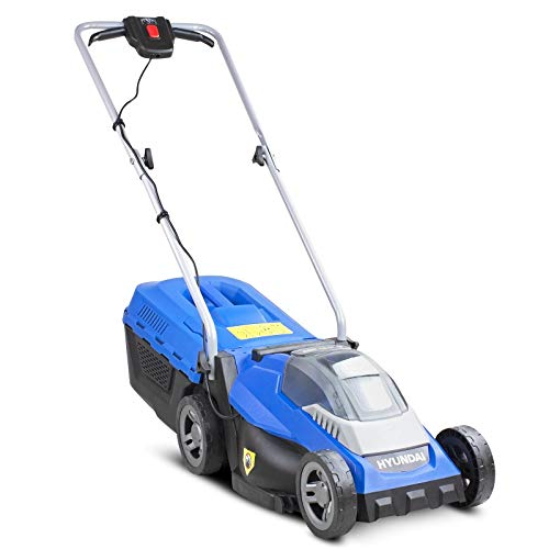 Hyundai HYM40LI330P 40V Lithium-Ion Cordless Battery Powered Roller Lawn Mower 33cm Cutting Width with Battery & Charger, Blue
