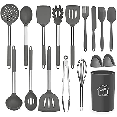 Silicone Cooking Utensil Set, AILUKI Kitchen Utensils 17 Pcs Cooking Utensils Set,Non-stick Heat Resistant Silicone,Cookware with Stainless Steel Handle
