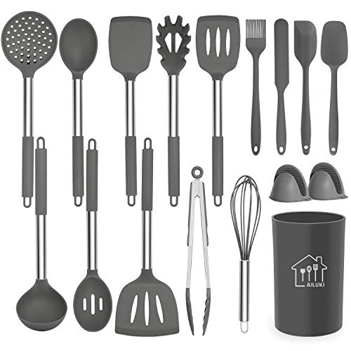 Silicone Cooking Utensil Set,Kitchen Utensils 17 Pcs Cooking Utensils Set,Non-stick Heat Resistant...