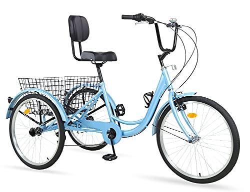 Ey Adult Tricycle, 3 Wheel Bike Adult, Three Wheel Cruiser Bike 20/24/26 inch Wheels, 7 Speed, Adjustable Seat and Handlebar, Multiple Colors