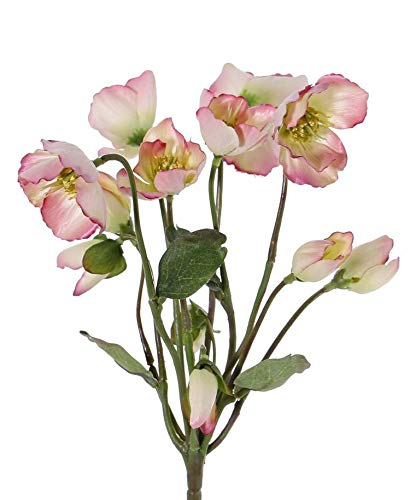 artplants.de Kunst Christrose Halla auf Steckstab, rosa, 30cm, Ø7cm - Dekoblumen künstlich