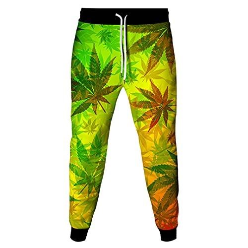 Pantalones deportivos largos sueltos 3D con diseño de plantas de hip hop para hombre, azul celeste, 36-41