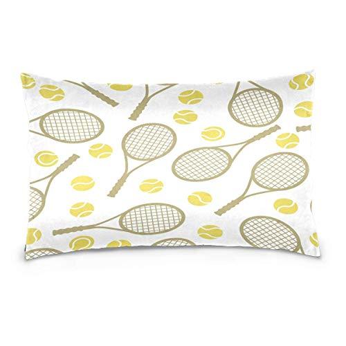 lymknumb Funda de Almohada de Terciopelo de algodón con Raqueta de Tenis Deportiva de Doble Cara, Funda de cojín Rectangular de 20x36 Pulgadas para sofá