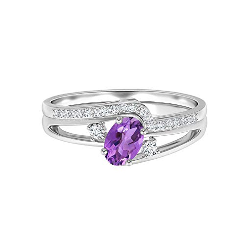 Shine Jewel ¡Anillo de Compromiso! 925 Plata 1.0 CTW Ovalada púrpura Amatista Piedra Preciosa Boda Conjunto Nupcial (23)