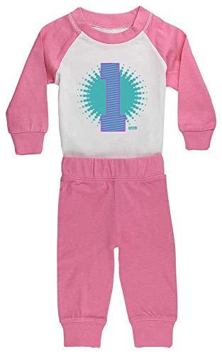 HARIZ HARIZ Baby Pyjama Geburtstag Gepunktet 1 Geburtstag Kinder Baby Plus Geschenkkarten Pink/Fuchsia 6-12 Monate