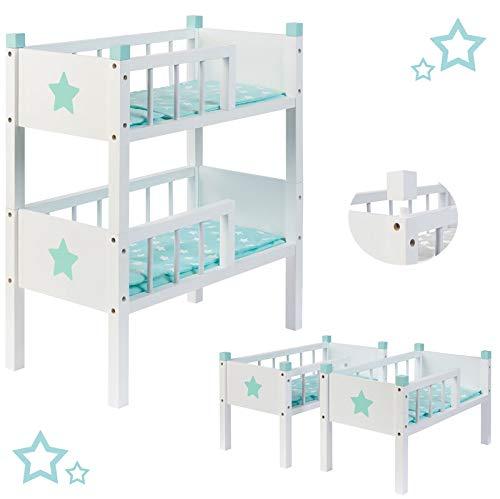 SUN Puppenetagenbett Sternchen aus Holz mit 2 Betten Stapelbar (Mint)