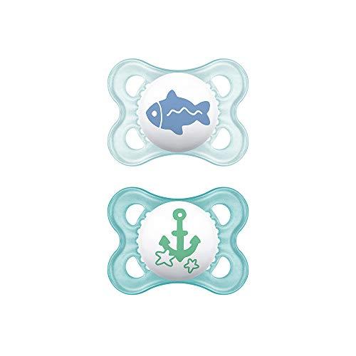 MAM Chupete Original S157 - Chupete con Tetina de Silicona SkinSoftTM ultrasuave, para Bebé de 0-6 Meses, Azul (2 unidades) con caja auto Esterilizadora, Versión Española