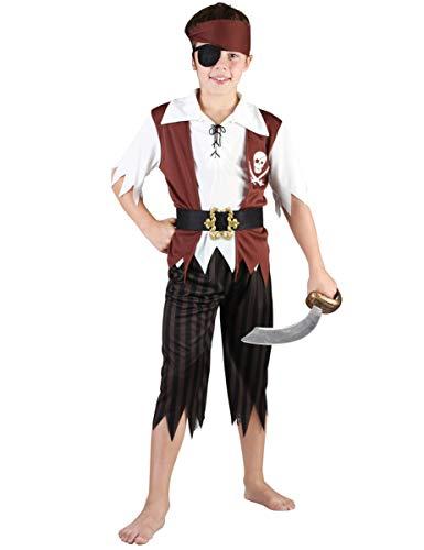 DEGUISE TOI Déguisement Pirate Noir et Blanc garçon - S 4-6 Ans (110-120 cm)