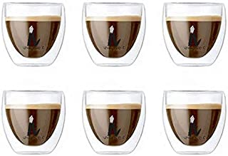طقم كؤوس زجاج بتصميم طبقة مزدوجة من 6 قطع (بحجم صغير)