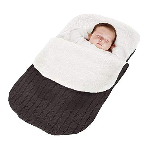 Minetom Fußsack Kinderwagen Baby Schlafsack Strickend Winter Buggy Babyschale Winterfußsack Dunkelgrau 38 * 68 cm