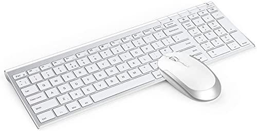 Juego de Teclado y Ratón Inalámbricos Recargables para Windows, Teclado Español Ultra Delgado y Ratón Silencioso con Receptor USB, para PC/Portátil/Ordenador, Blanco y Plata