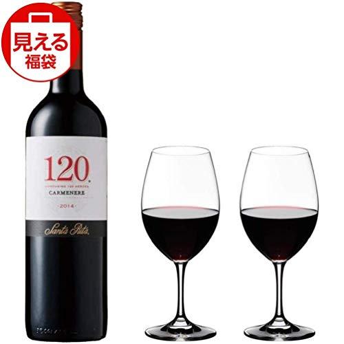 【福袋】サンタ・リタ 120 (シェント・ベインテ) カルメネール 赤ワイン 750ml ペアグラスセット350ml付き