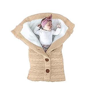 XMWEALTHY Unisex Infant Swaddle Blankets Soft Thick Fleece Knit Baby Girls Boys Stroller Wraps Baby Accessory Khaki