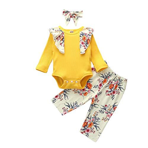 JKstore - Set di 3 tutine da bambina a costine, con balze, pantaloni floreali+fascia per capelli da 0 a 24 m Giallo 24 mesi