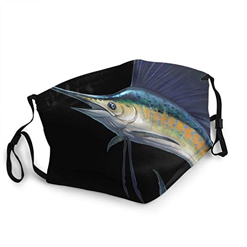 GNR-KGRL Face Mask - Breathable Comfort - Dust UV Sun - Fully Machine Washable - Reusable and Adjustable Protective Fabric - Dust Filter Pocket - Blue Marlin Sailfish