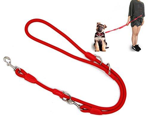 BPS Correa para Perro Mascotas Correa de Perro Doble Ajustable Varias Posiciones Perro Mediano Grande 2 Dimensión Elegir M/L (L, Rojo) BPS-3801RJ