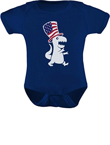 TeeStars - American T-Rex Dinosaur USA Flag 4th of July Patriotic Baby Bodysuit Newborn Navy
