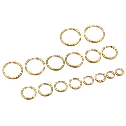 JSDDE Piercing 16 Stücke Set Chirurgenstahl Creolen Ohrringe Hoop Ring Septum Tragus Helix Ohrpiercing Huggie Kreolen Ohrringe 6-20mm Gold
