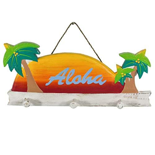 Oriental Galerie Hawaii Garderobe Südsee Kleiderhaken Wandbrett Deko Wandschild Aloha Tiki Sonnenuntergang, Design:Sonnenuntergang