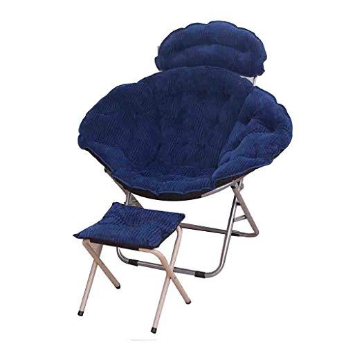 Un pouf- Rembourré Loisir 2pcs Moon Chair Et tabouret Pliant pour Camping Pêche avec Festivals cadeau (Couleur : Bleu)