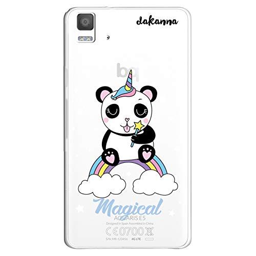dakanna Funda Compatible con [Bq Aquaris E5 4G - E5S] de Silicona Flexible, Dibujo Diseño [Panda Unicornio Magico], Color [Fondo Transparente] Carcasa Case Cover de Gel TPU para Smartphone