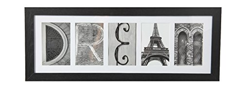 Imagine Letters 5-Opening, White Matted Black Photo Collage Frame