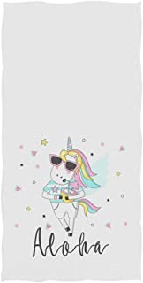 ThinkingPower Cute Cartoon Llama Print Soft Absorbent Guest Hand Towels Multipurpose for Bathroom, Hotel, Gym and Kitchen Yellow