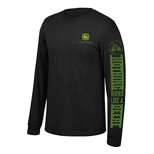 John Deere Nothing Runs Like A Deere Long Sleeve Tee, Black- XL