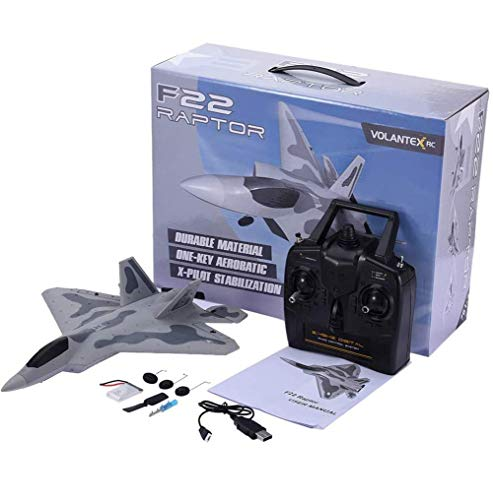 YIQIFEI F-22 Raptor Model RC Plane Glider, Avión de Control Remoto, F-22 4CH Beginner Fighter Airplane, Drone EPP Remote Control RC Airpl (RC Car)