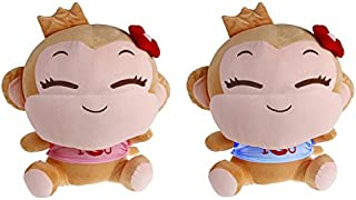 Sealive 2 Pack Monkey Plush Toy Doll for Baby Kids Adults, Stuffed Animals Couple Monkeys Po Send Dolls Children Loved, Zodiac Monkey Mascot for Home,Office Decoration, Birthday Gifts Christmas Gifts