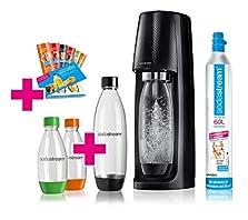 SodaStream Easy Wassersprudler-Set Vorteilspack mit CO2- Zylinder, 2x 1 L PET-Flasche, 2x 0,5 L PET-Flasche, 6x Sirupproben, schwarz©Amazon