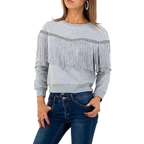 Ital Design Damen FRANSEN Boho Sweatshirt Drole de Copine Gr. S Grau