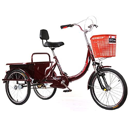 Triciclo para Adultos Bicicleta Bicicleta De Acero De Alto Carbono De La Bicicleta del Crucero De Tres Ruedas 20 En La Bicicleta Adulta con El Respaldo del Asiento Y La Cesta De La Compr(Color:Red)